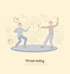smiling corporate workers in vr headsets lounge vector image