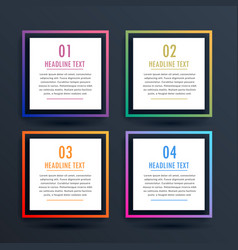 Square options infographic design with four steps vector