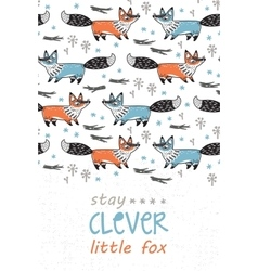Stay clever Card for children with foxes in vector