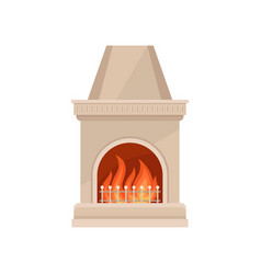 Stone fireplace with burning fire vector