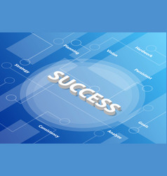 success words isometric 3d word text concept with vector image