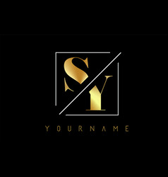 sy golden letter logo with cutted and intersected vector image