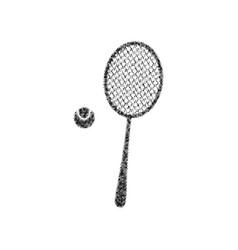 Tennis racquet with ball sign black icon vector