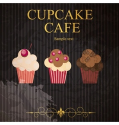 The concept of cupcakes cafe menu vector image