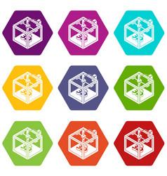 three d printer icons set 9 vector image