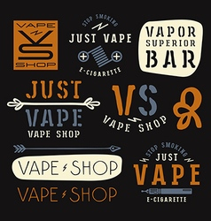 Vapor bar and vape shop labels vector