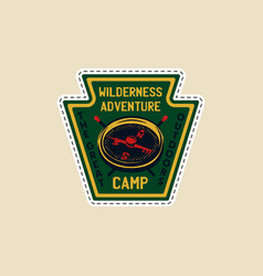 Vintage camp patch logo mountain wildlife badge vector