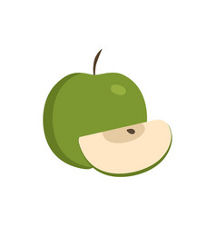 Whole and slice green apples icon in flat design vector