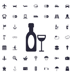 Wine and wineglass icon vector