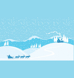 winter snowy landscape with santa and reindeers vector image