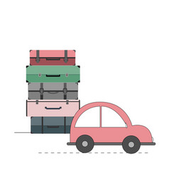 with car and cases travel vector image