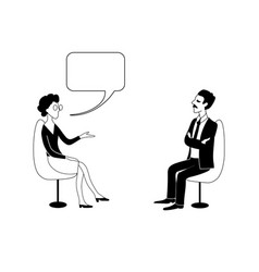 woman and man are talking black outline vector image