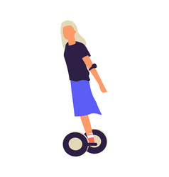 woman riding on hoverboard cartoon girl driving vector image