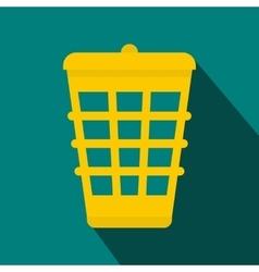 Yellow trash icon flat style vector image