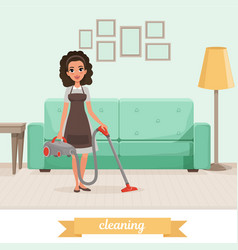 young girl cleaning floor with vacuum cleaner at vector image