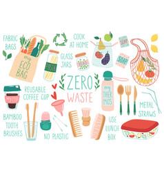 Zero waste reusable items set eco friendly vector