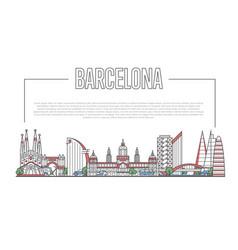 barcelona landmark panorama in linear style vector image vector image