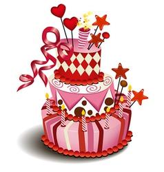 Big pink cake vector image vector image