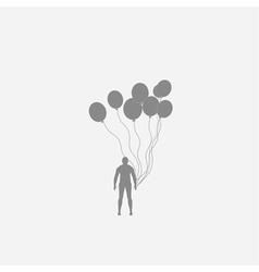 Human and balloons vector image vector image