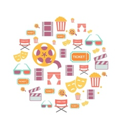 Movie Graphic Icons on white Background vector image vector image