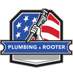 Plumber hand pipe wrench usa flag crest retro vector