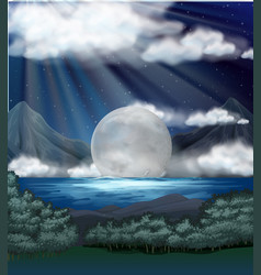scene with fullmoon over lake vector image