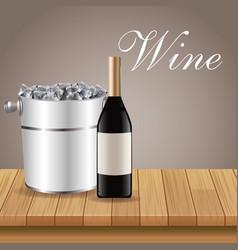 bottle wine ice bucket wooden vector image vector image
