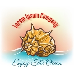 Cruise travelling logo with seashell vector image vector image