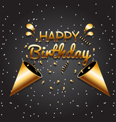 happy birthday black gold black background vector image