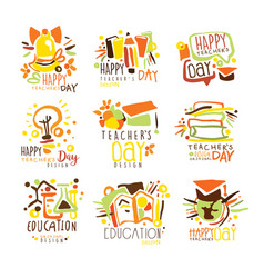 happy teachers day colorful graphic design vector image