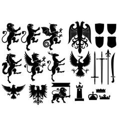 heraldry set vector image