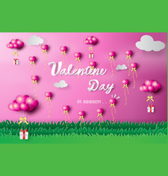 paper art of happy valentine day heart balloon vector image vector image