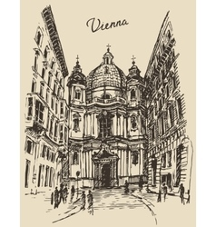 Peterskirche in Vienna Austria hand drawn sketch vector image vector image