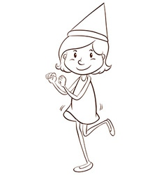 A plain drawing of a girl celebrating vector image vector image