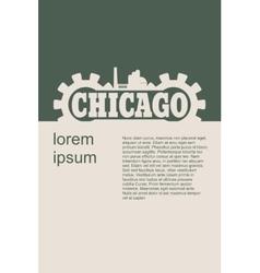 Chicago word build in gear vector