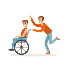 disabled young man in wheelchair smiling friend vector image vector image