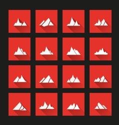Mountain icons long Shadow vector image