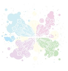 Pastel background with white mandala on colorful vector image