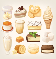 Vanilla desserts vector image