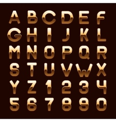 Golden Metallic Shiny ABC Letters and Numbers vector image vector image