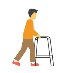incapacitated faceless person with metal walkers vector image