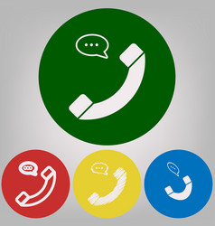 phone with speech bubble sign 4 white vector image vector image