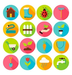 Spring Garden Circle Icons Set with long Shadow vector image vector image