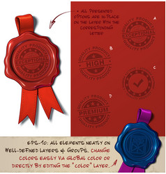 wax seal - quality product vector image vector image