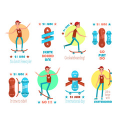 21 june international skateboarding day emblems vector