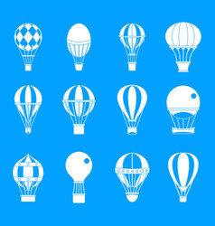 Air ballon icon blue set vector