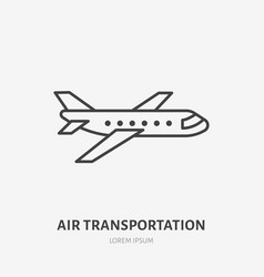 Airplane flat line icon jet sign thin linear vector