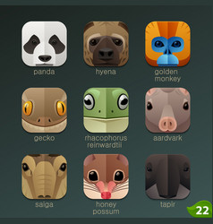 animal faces for app icons-set 22 vector image