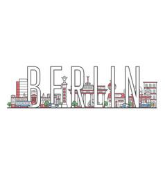 Berlin travel lettering in linear style vector