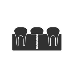 Black icon on white background teeth and gum vector